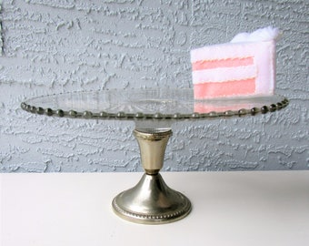 Vintage Cake Stand - Silver Base - Candlewick Glass - Mid Century Serveware - Pressed Glass & Vintage cake stands   Etsy