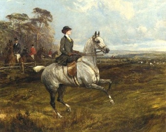 """Horse: FOX HUNT PAINTINGS showing Women Riders.Two Different 16 inch Fabric Panels to sew. Actual pictures are 8"""" x 10""""on White background."""