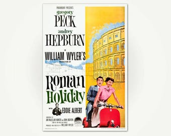 Roman Holiday Movie Poster Print - Classic Film Poster Art - Audrey Hepburn Movie Poster