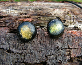 Fused Scorched Gold Glass stud earrings