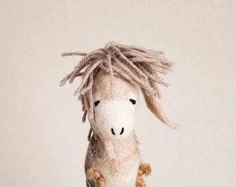 Felt Donkey kids gift - Brunhilda- Art Toy Felted Toy Plush stuffed Felt Toy Marionette Puppet Felt Animal beige cream neutral MADE TO ORDER