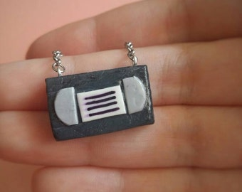 Vhs 80s miniature necklace