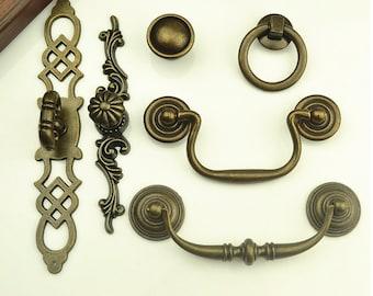 Vintage Drawer Pulls Handles Knobs Pulls Drop Antique Bronze Kitchen Cabinet Door Handle Dresser Pull Cupboard