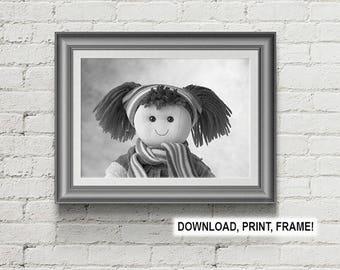 Rag Doll print, Baby room decor,Wall art,Rag doll photo, Peekaboo Rag Doll, Downloadable print, Nursery Room Wall Art, Baby room art