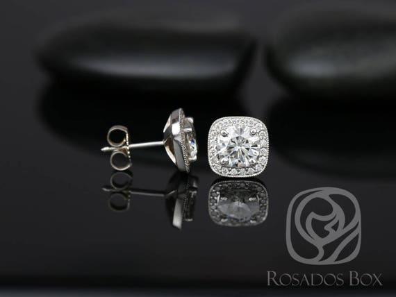 Rosados Box Rheine 6.5mm 14kt White Gold Round F1- Moissanite and Diamonds Cushion WITH Milgrain Halo Stud Earrings