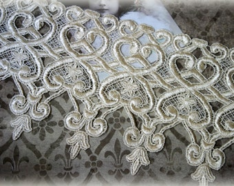 """Lace Trim Venice Lace for Bridal, Costumes, Sashes, Sewing, Altered Art, Couture Gowns, Crafts approx. 6.25"""" LA-182"""