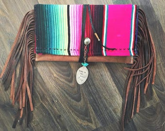 Serape leather clutch
