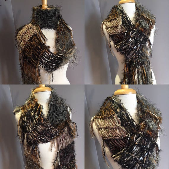 "Fringed soft knit scarf, ""Archives"", Soft Knit Scarf, Black tan scarves, fringe fashion scarf, art scarf, fashion, bohemian, wearable art"