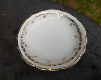 Vintage/Antique 1900s White and Gold Butter Pat Dish Small Tiny Ring Dish Dinnerware Retro Unmarked Flowers