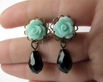 Pair of Unique Seafoam Rose Plugs with Black Faceted Beads - Girly Dangle Gauges - 8g, 6g, 4g, 2g, 0g, 00g (3mm, 4mm, 5mm, 6mm, 8mm, 10mm)