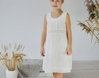 Linen Gown For Girl/ Lacy Linen Night Dress in Milky White/ Linen Wear For Girl/ Night wear For Girls/ Girls Clothing/