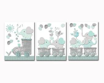 Elefant Kinderzimmer Wand Dekor Kunstwerk Baby Junge Schlafzimmer Kunst Spielzimmer Dekoration Mint Grau Zug Plakat