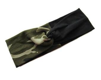 Knotted Headband - Camo Headband - Camouflage Headband - Yoga Headband - Hair Accessory - Gifts for Her - Baby Headband - Gifts under 10