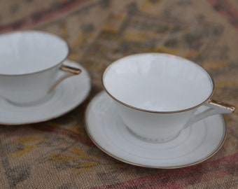 Two small cups breakfast - Art deco - Limoges - Made in France
