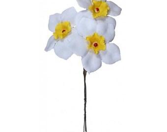 3 Daffodils Czech Republic Millinery Fabric Flowers Hand Made White NFC041W