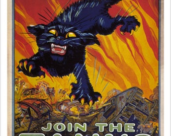Treat 'em rough Join the tanks VINTAGE POSTER August Hutaf US 1918 24X36