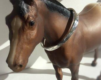 Horseback Riding Story Cuff - Sterling Silver