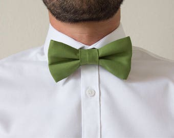 Adjustable olive green cotton adult bowtie / bow tie