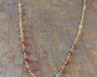 Tourmaline gemstone gold necklace
