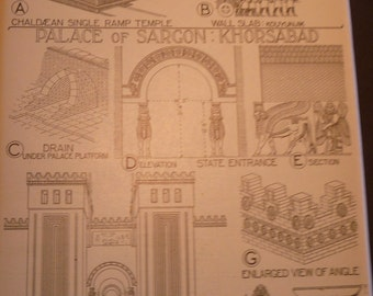 Iraq Assyrian Ancient Palace Architecture Plans - 1924 print - Great for Framing - gift for architect - Palace of Sargon Khorsabad