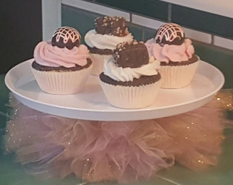 CAKE STAND TUTU Pink Gold glitter sparkle princess ballerina tulle centerpiece decorations baby shower bridal wedding 16 birthday party prop
