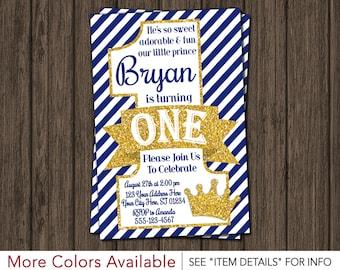 Prince Birthday Invitation - First Birthday Invitations - Royal Blue 1st Birthday Invitation