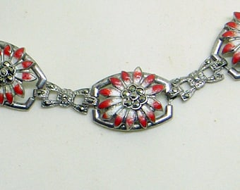 Sale Vintage Sterling Enamel Marcasite Bracelet - Pre WWII - Red And White Enamel - Marked Sterling = Great Condition - Flower