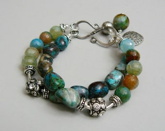Reserved for Rita - Evergreen Charm Bracelet with Chrysoprase, Agate and Silver