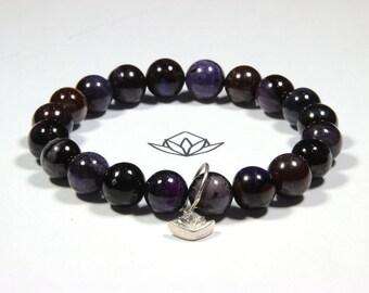 "Sugilite - 22 x 9mm Beads 30g Wrist 6 3/4"" Stretch Bracelet - Rare Beads"
