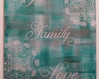 Hope Love Family Values Original Mixed Media Acrylic Hand Painted Textured Art