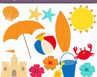 Beach Digital Art Set Clipart Commercial Use Clip Art INSTANT DOWNLOAD Sand Summer Beach Clipart