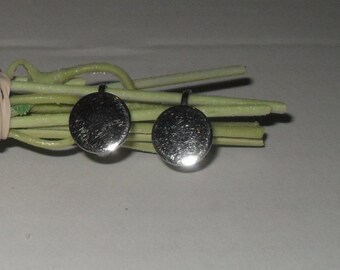 SALE-Shiny silver disk earrings-Clip (screw back)