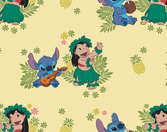 Disney Fabric Lilo and Stitch Fabric Ohana in Lemonade From Camelot 100% Cotton