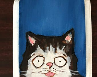 Cat Portrait on Wood #4 Original Painting