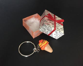 Polymer clay sherbert ice cream cone keychain in a gift box