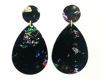 DROP earrings. Black and rainbow confetti glitter.