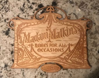 Laser Engraved Madam Malkins Wooden Sign