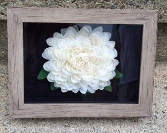 Seashell Flower Shadow Box (White Cay Cay Seashells)