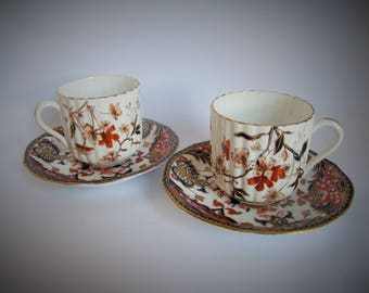 Antique Royal Crown Derby Cup & Saucers x 2, Pair of Tea Cups, Coffee Cups and Imari Saucers