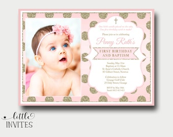 Etsy your place to buy and sell all things handmade pink and gold baptism invitationfirst birthday and baptism invitation1st birthday invitation girlgirls baptism invitation2nd3rd penny filmwisefo