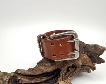 Chunky Mens Leather Cuff, Brown Leather Belt Cuff, Mens Leather Bracelet, Mens Leather Belt Bracelet, Masculine Bracelet, Heavy Bracelet
