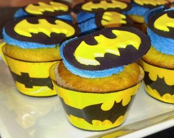 Batman Cupcake Toppers, Edible Batman Cupcake Topper, Batman Birthday Party, Bat Signal, Batman Utility Belt Cupcake Wrappers,