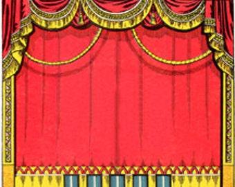 Stage Curtains Theatre Performance - Digital image - Vintage Art Illustration