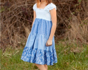 Brooklyn's Tween Tiered Sundress PDF Pattern in sizes 7/8 to 15/16 girls