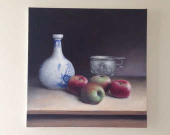 Large Apple Painting Original Still Life Oil Painting of Apples and Vases Large Still Life Oil on Canvas Kitchen Art Food Art Red Apple