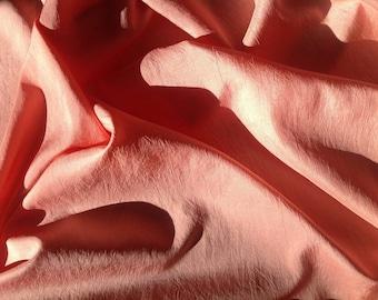 Wrinkled, pure silk fabric, peach