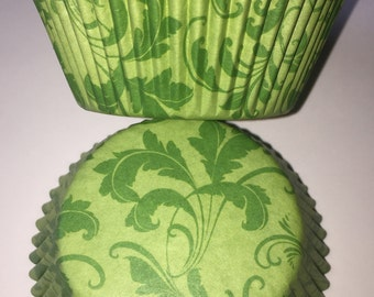 Green Damask Vintage Style Cupcake Cases