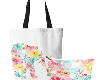 Elephant Tote Bag, Watercolor Floral make up accessory pouch, several sizes