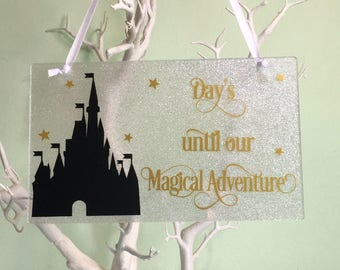 Holiday Countdown Plaque, Countdown Plaque, Magical Kingdom Countdown, Magical Adventure Countdown Plaque, Holiday Gift, Children's Gift.