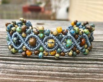 Micro-Macrame Beaded Bracelet - Blue Picasso